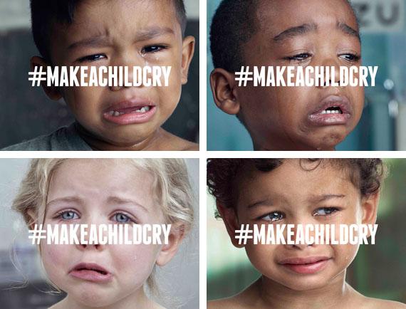 maak een kind aan het huilen